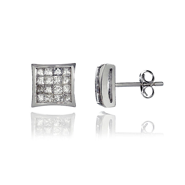 14K White Gold Diamond Cluster Stud Earrings 0.85 Ctw