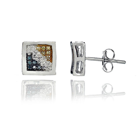 14K White Gold Multi Color Diamond Stud Earrings 0.52 Ctw
