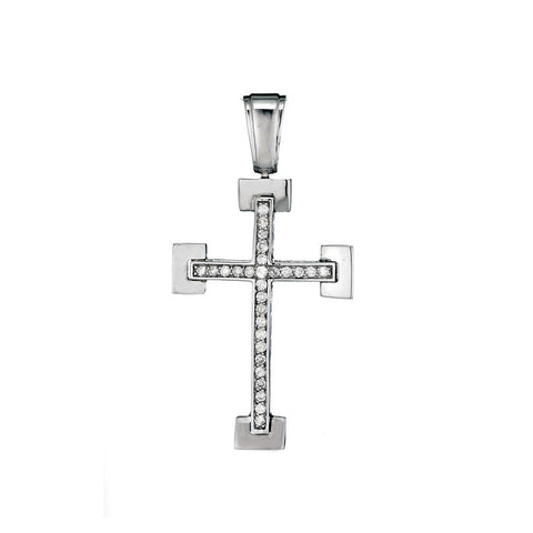 14K White Gold Mens Diamond Cross Pendant 1.25 Ctw