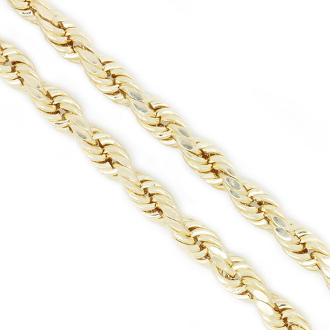 10K Yellow Gold 3.0 mm Rope Chain Necklace 24 Inches