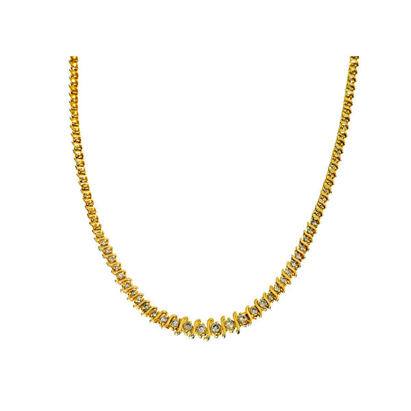 14K Yellow Gold Women's Diamond Necklace 8.64 Ctw