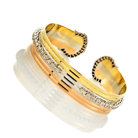 18K Tri Color Gold Women's Diamond Cuff Bangle Bracelet 2.56 Ctw