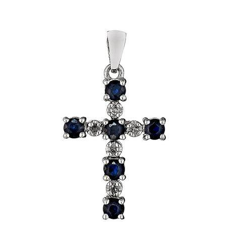 14K White Gold Diamond and Sapphire Cross Pendant 0.05 Ctw