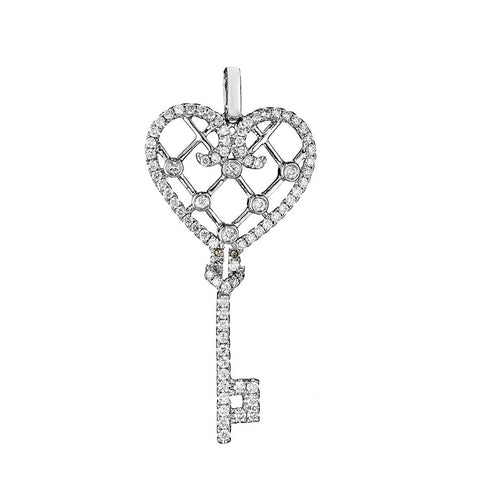 14K White Gold Diamond Key To The Heart Pendant 0.89 Ctw