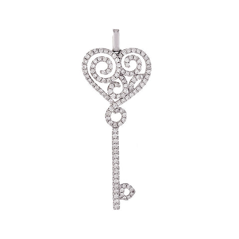 14K White Gold Womens Diamond Key to the Heart Pendant 0.87 Ctw
