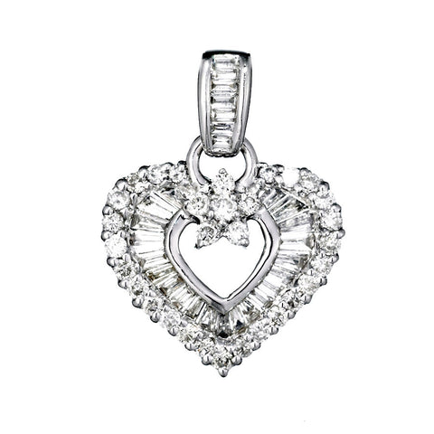 14K White Gold Womens Diamond Heart Pendant 1.06 Ctw