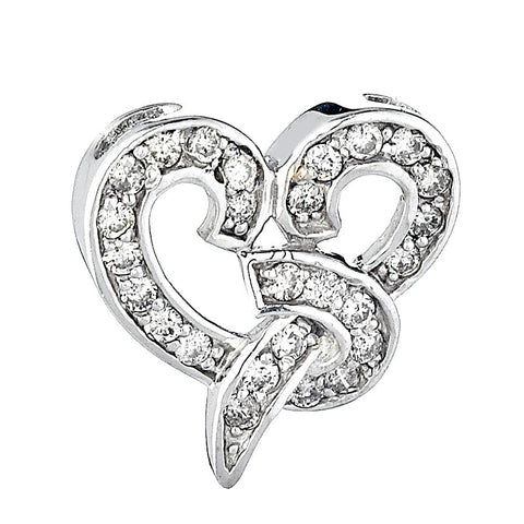 14K White Gold Womens Diamond Heart Pendant 0.55 Ctw