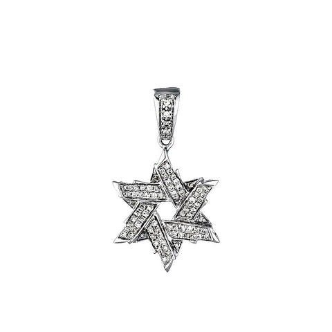 14K White Gold Womens Diamond Star of David Pendant 0.13 Ctw