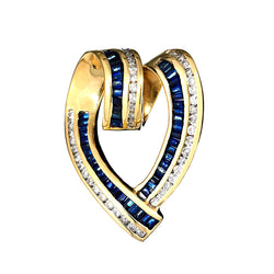 14K Yellow Gold Womens Diamond and Sapphire Heart Pendant 1.89 Ctw
