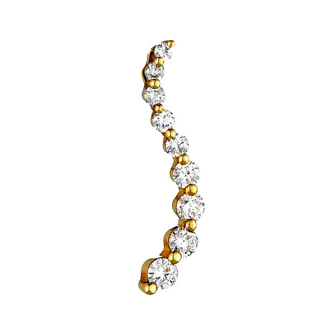 14K Yellow Gold Womens Diamond Journey Pendant 1.27 Ctw
