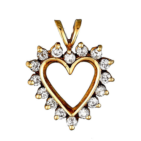14K Yellow Gold Womens Diamond Heart Pendant 0.50 Ctw