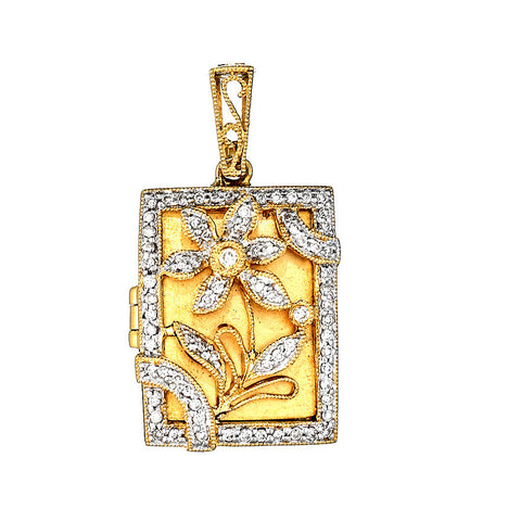 18K Yellow Gold Diamond Antique Style Locket Reliquary 0.92 Ctw