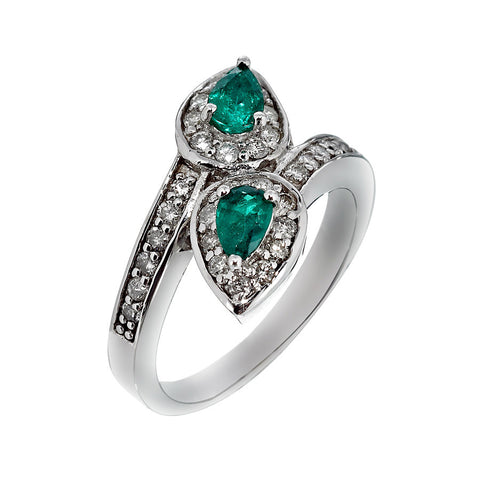 14K White Gold Womens Diamond and Emerald Ring 0.69 Ctw