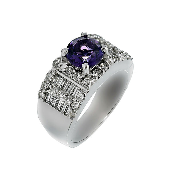 14K White Gold Womens Diamond and Amethyst Ring