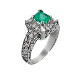 14K White Gold Womens Diamond and Emerald Cocktail Ring