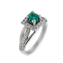 14K White Gold Womens Diamond and Emerald Ring 0.75 Ctw