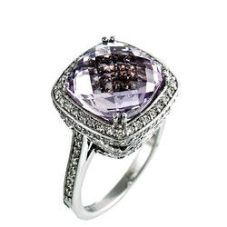 14K White Gold Womens Diamond and Pink Topaz Fancy Ring 1.50 Ctw