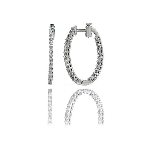 14K White Gold Diamond Hoop Earrings 0.89Ctw