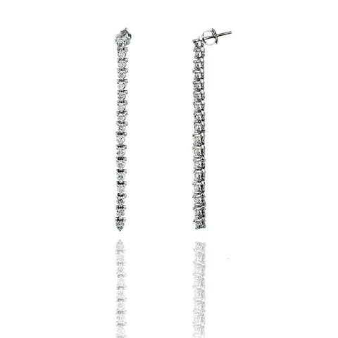 14K White Gold Round Cut Diamond Dangle Earrings