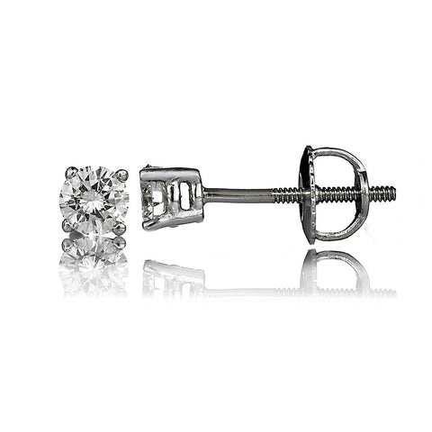 14K White Gold Diamond Stud Earrings 0.48 Ctw