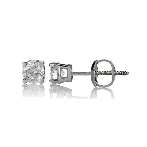 14K White Gold Diamond Stud Earrings 0.57 Ctw