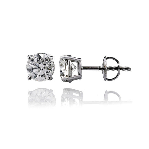 14K White Gold Diamond Solitaire Stud Earrings 2.32 Ctw