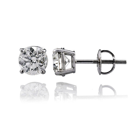 14K White Gold Diamond Stud Earrings 0.44 Ctw