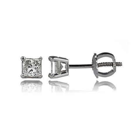 14K White Gold Diamond Stud Earrings 0.45 Ctw