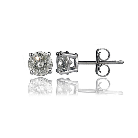 14K White Gold Diamond Stud Earrings 0.98 Ctw