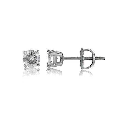 14K White Gold Diamond Stud Earrings 1.00 Ctw