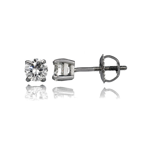 14K White Gold Diamond Stud Earrings 1.49 Ctw