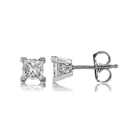 14K White Gold Diamond Stud Earrings 1.01 Ctw
