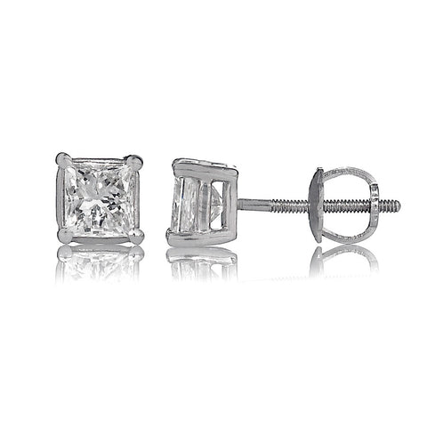 14K White Gold Diamond Stud Earrings 1.53 Ctw