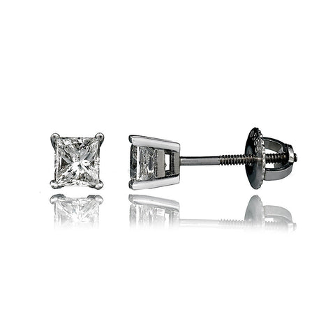 14K White Gold Diamond Stud Earrings .55 Ctw