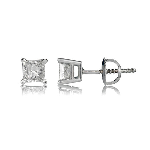 14K White Gold Diamond Stud Earrings 1.22 Ctw