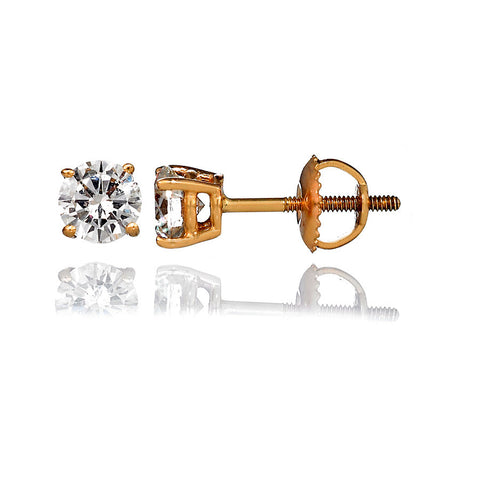 14K Yellow Gold Diamond Stud Earrings 0.35 Ctw