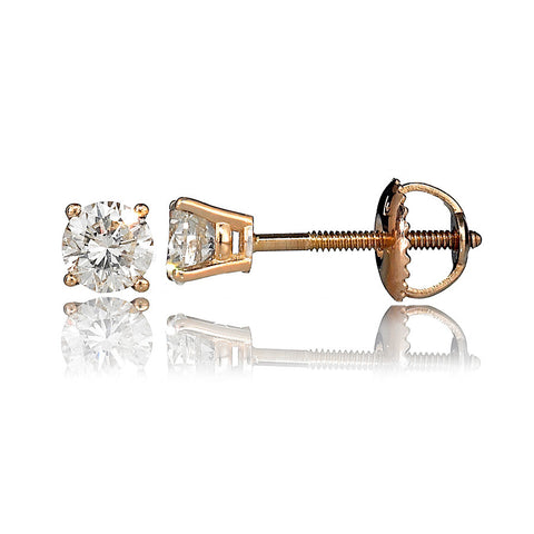 14K Yellow Gold Diamond Stud Earrings 0.58 Ctw