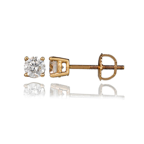 14K Yellow Gold Diamond Stud Earrings 0.85 Ctw