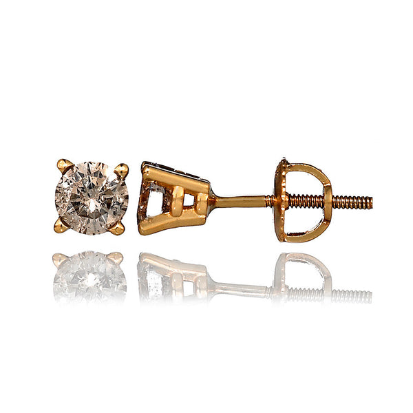 14K Yellow Gold Diamond Stud Earrings 1.01 Ctw