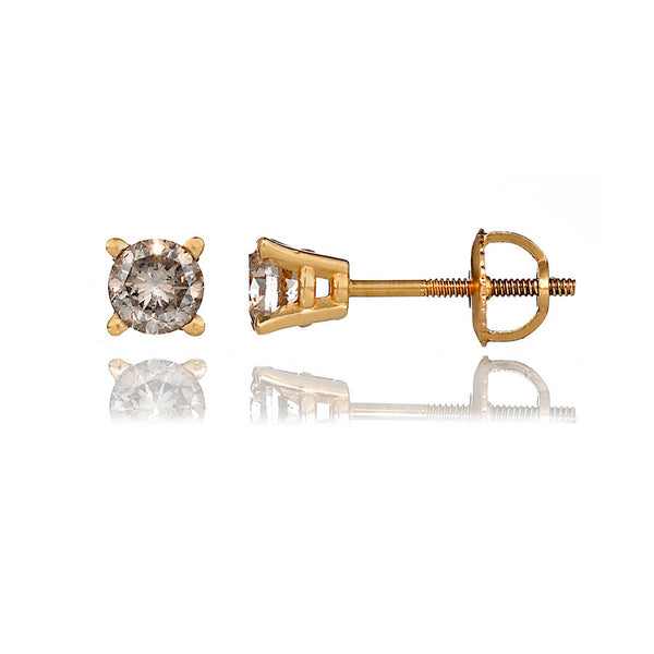 14K Yellow Gold Diamond Stud Earrings 0.69 Ctw