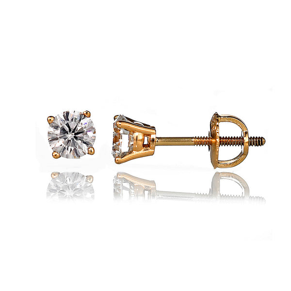 14K Yellow Gold Diamond Stud Earrings 1.07 Ctw