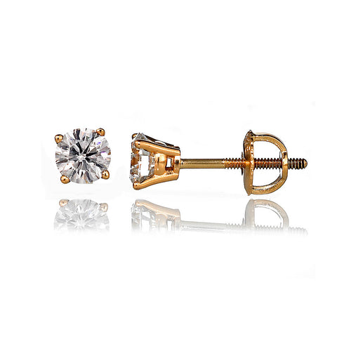 14K Yellow Gold Diamond Stud Earrings 1.02 Ctw