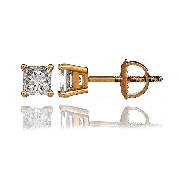 14K Yellow Gold Diamond Stud Earrings 1.05 Ctw