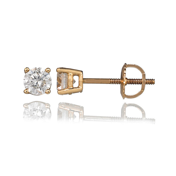 14K Yellow Gold Diamond Stud Earrings 0.76 Ctw