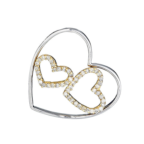 14K Two Tone Gold Womens Diamond Heart Pendant 0.36Ctw