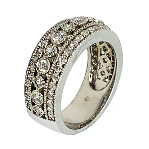 14 KT WHITE GOLD ROUND PRINCESS DIAMOND RING - 1.75 CT