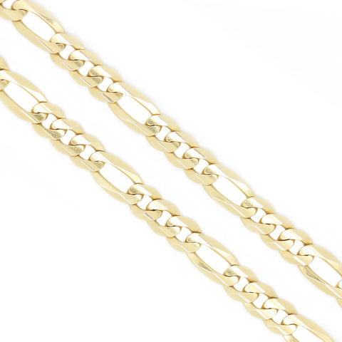 14K Yellow Gold 7.6 mm Figaro Chain Necklace 22 Inches