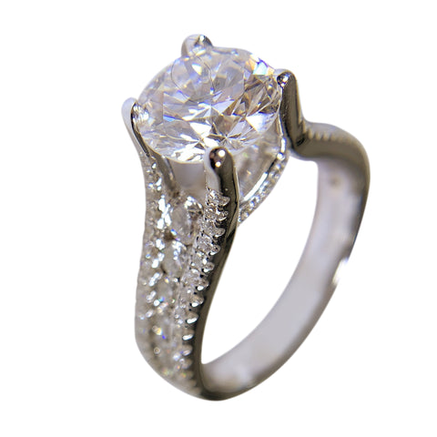 18 KT WHITE GOLD WONDERFUL ENGAGEMENT DIAMOND RING - 2.38 CT