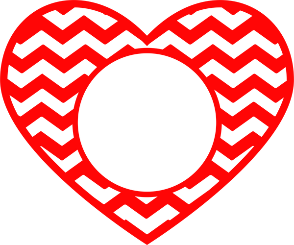 Chevron Heart Center Monogram