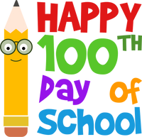 Happy 100th Day of School with Pencil with Glasses